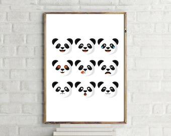 Panda Emoji Print // Minimalist // Wall Art // Typography // Fashion // Scandinavian // Boho // Modern Office