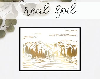 Forest Landscape Print // Real Gold Foil // Minimal // Gold Foil Print // Decor // Modern Office Print // Typography // Fashion Print