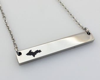 U.P. Engraved Bar pendant; Horizontal; Upper Michigan; Personalized; Upper Peninsula; Custom Jewelry; (#MJ-P-23HBar)