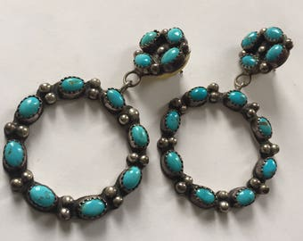 Vintage Native American Silver and Turquoise drop earrings.  Signed LG Sterling