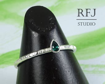 Pear Cut Synthetic Tourmaline Textured Silver Ring, Stacking October Birthstone Ring Teardrop Dark Green Stone 3x2 mm Tiny 925 Silver Ring