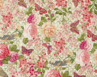 """New Floral Fabric: Paintbrush Studio Natural Beauty Wisteria Floral and Butterflies on Beige  100% cotton fabric by the yard 36""""x43"""" (FQ166)"""