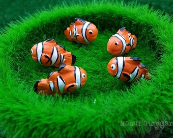Anemonefish, Nemo figurines ceramic Miniature Dollhouse Fairy Garden 5 Pcs/Set