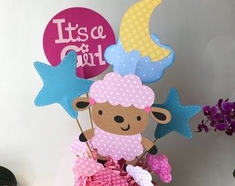 Lamb baby shower centerpiece, little lamb baby birthday party, lamb cake topper, it's a girl baby shower decoration, lamb themed baby Shower
