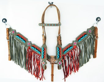 Custom Embroiderer Fringe Bling Western Leather Horse Bridle Headstall Breast Collar Tack Set