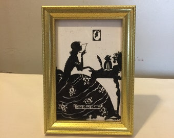 Vintage Reverse Painting - Reverse Painting of Woman Looking in Mirror