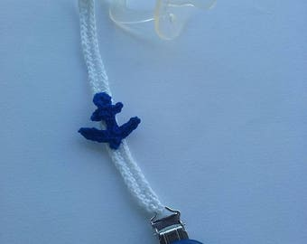 White with blue pacifier still door chain