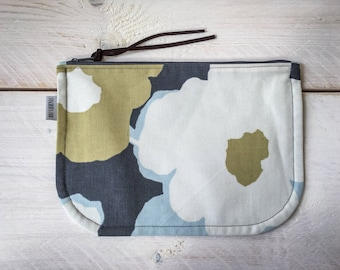 Cosmetic bag flowers grey light blue off white