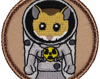 Space Hamster Patch (825) 2 Inch Diameter Embroidered Patch