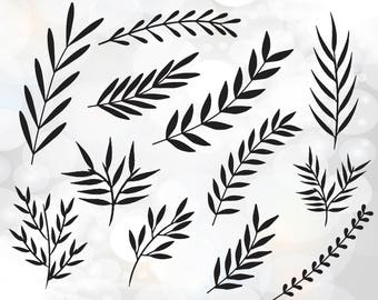 leaves svg files - hand drawn leaves and elements svg, dxf, pdf, png, eps files - SVG cutting files - hand drawn branches svg cut files