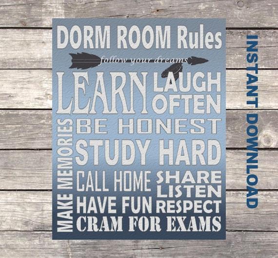 Dorm Room Rules Dorm Sign Dorm Room Decor Dorm Sign Dorm