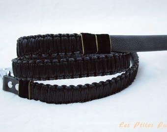 Braided dog leash classical black
