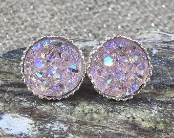 Pale Pink Druzy Earrings - Bridesmaid Gift - Druzy Jewelry - Bridesmaid Proposal - Stud Earrings - Flower Girl Earrings - Pink - Jewelry -