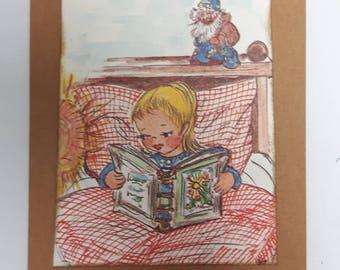 "Set of 5 double vintage postcards of sturdy cardboard envelope including ""Pajamas"""