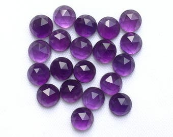 SALE African Amethyst 5MM, 6 MM Round, Rose Cut Cabochons. Amethyst Faceted Cabs, February Birthstone, Price per piece.