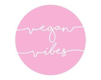 "Vegan Vibes Pink Cursive 1"" Pinback Button - Vegan, Vegetarian, Animal Rights, Animal Liberation, Veganism, Activism"