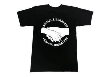 Animal Liberation Human Liberation T-Shirt - Vegan, Vegetarian, Animal Rights, Animal Liberation, Veganism, Activism