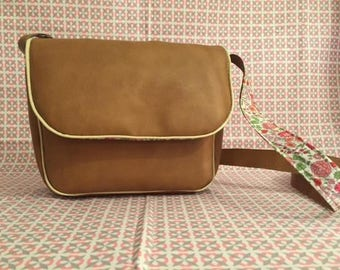 Faux camel leather and fabric Liberty shoulder bag