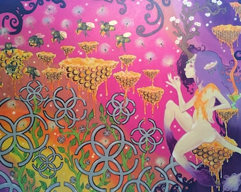 """The Work of the Gilded Bees (Original Painting: 48""""x60"""")"""