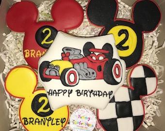 Race Car Mickey Cookie Favors - 1 Dozen (12 Cookies)