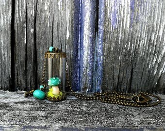 Turquoise blue - limited EDITION - amanita mushroom vial necklace