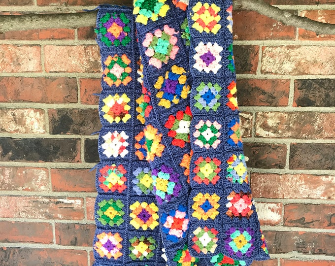 Vintage Crocheted Multi Colored Quilt