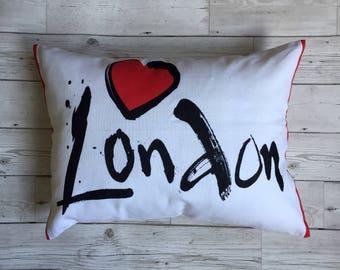 Love London, Tea Towel Cushion, Souvenir Pillow, Picnic Cushion, London Cushion, Heart London, Cushions of the UK