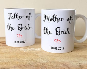 Personalised Father and Mother of the bride wedding mug set, wedding mugs, wedding gift, father mother of the bride mug, wedding mugs