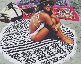 20% OFF SALE Tribal Print Roundie Round Beach Towel Blanket Black and White Cover Up