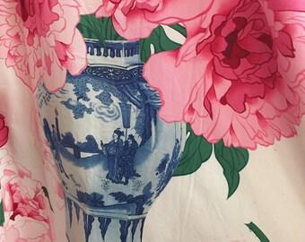 Manuel Canovas Fabric Drape | Ginger Jar Pink Peonies Drape | Chinoiserie Chic | Chintz