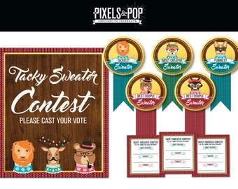 Sweater Contest Pack // Ugly Sweater Contest Awards // Voting Ballots // Ugly Sweater Party // Tacky Sweater Contest Sign // Christmas Party