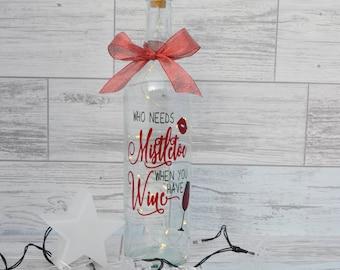 Christmas Wine Bottle Light, Christmas Decor Wine Bottle, Wine Bottle with Lights, Lighted Wine Bottle, Fairy Lights, Christmas Light
