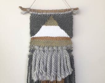 Woven Wall Hanging - Grey, mustard yellow, white and olive green