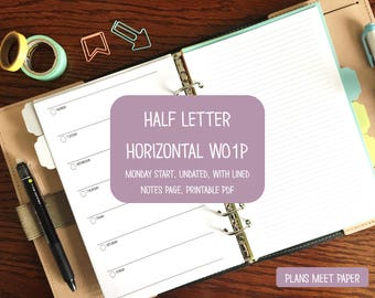 PRINTABLE Weekly Planner Insert, Half Letter Horizontal Week on 1 Page Monday Start with Lined Notes Page