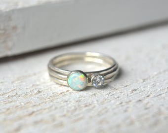 White Opal Ring Set. Opal Gemstone Ring, Opal Stacking Ring, Dainty Opal Ring, Silver Opal Ring, White Opal Gemstone, Silver Opal Ring