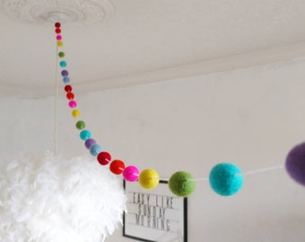 Rainbow garland -feltball bright vibrant, unisex decor, Kids room, party decoration, home, bunting, boys room, girls, nursery feltball,