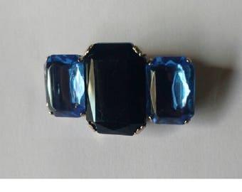 Vintage Bar Brooch Black and Blue stones
