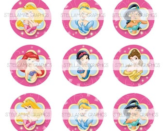 Disney Princess (pink) - 1 inch circle images, bottlecap, cupcake topper - INSTANT DOWNLOAD