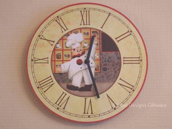 Kitchen Wall Clock Novelty Chef Design Clock Round 30CM