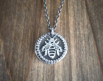 Fine Silver Bee Wax Seal Necklace - Bee Necklace - Wax Seal Necklace - Wax Seal Jewellery - Personalised Necklace