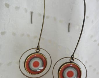 """Stud Earrings, rings and cabochons """"hypnotic"""" vintage retro"""