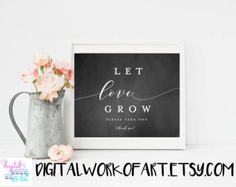 Chalkboard Let Love Grow Sign, Let Love Grow Printable, Seed Favors sign, Printable Wedding Sign, Favor Table Sign,Instant Download, #AI-17