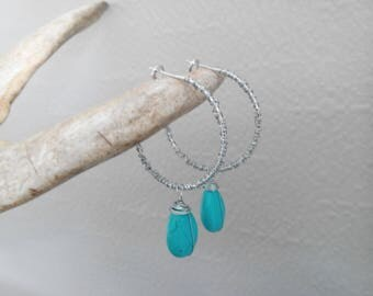 Hoop Earrings with Wire and Tuquoise Drop Beads/ Big Silver (Statement) Hoop Earrings