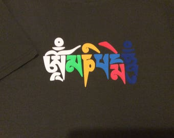 Om mane padme hum tee-shirt in traditional colours also available in white or black long sleeve top on request