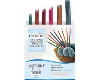 "Knitter's Pride Dreamz Double Point Needle Sock Set Needles - 5"" Double Point Sock Needle Set, wood needles, wood dpn, knitting needles"