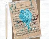 Wedding love bird card, anniversary card, engagement card, gay card, lgbt card, boyfriend birthday card, sheet music card, shabby chic card