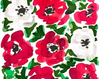 Red Christmas Poppy Print