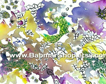 Watercolor Abstract Art Print 11 x 14 in