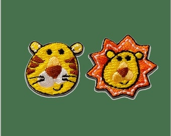 Patch/Ironing-set Tiger lion animal-yellow-various sizes-by catch-the-Patch ® patch appliqué applications for ironing application patches patch