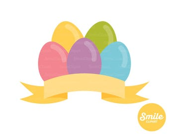 Easter Eggs with Banner Clipart Illustration for Commercial Use | 0050